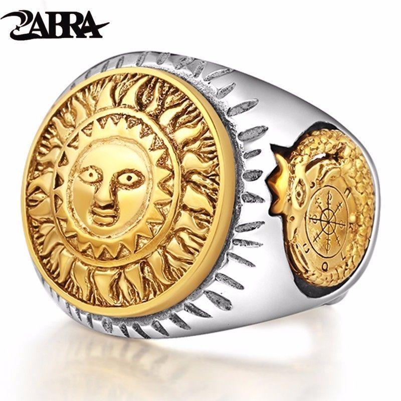 ZABRA 925 Sterling Silber Männer Ring Gold Farbe Sonnengott Lächeln 3D Dinosaurier Skulptur Einstellbarer Größe Vintage Punk Handgemachten Schmuck
