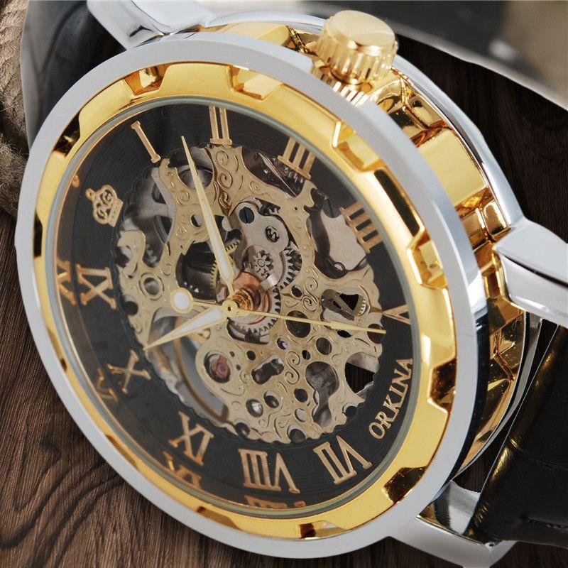 Marque de luxe MG. ORKINA Squelette Mécanique Main Vent Montres Hommes Steampunk Homme Montre-Bracelet Homme D'affaires Horloge Véritable En Cuir