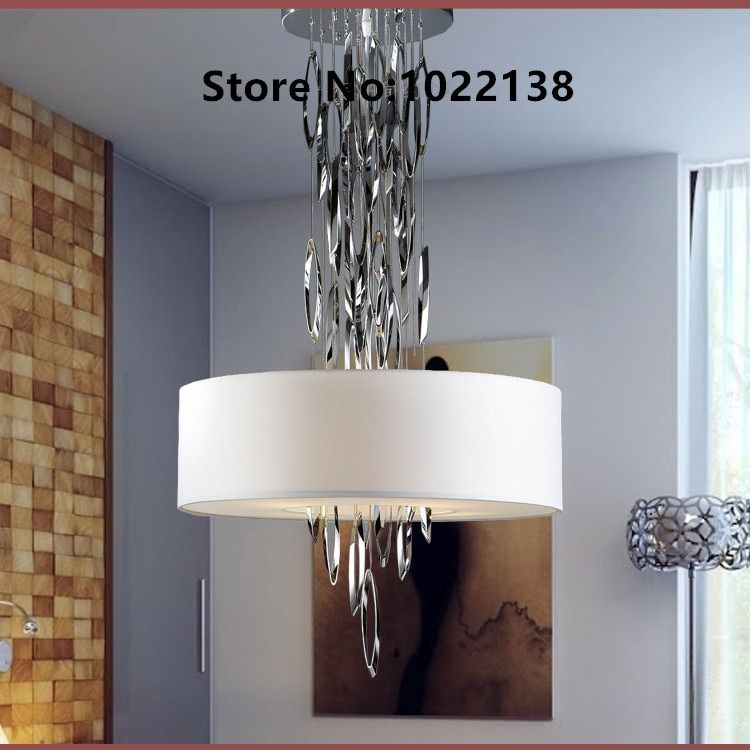 Art Design Modern LED Lustre Chandeliers Fabric lampshade lumiere hanging lighting fixture Stainless Steel decoration chandelier