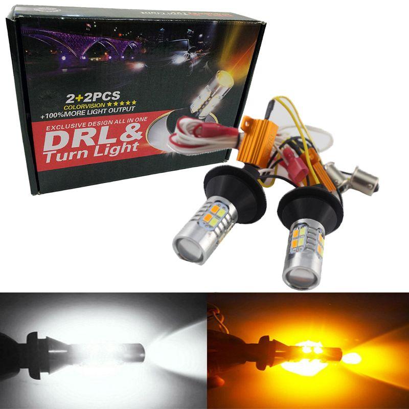 Super Lumineux 1 Set 1156 P21W BA15S 5730 20 SMD Blanc/Ambre Switchback ampoule LED Kit Voiture LED Signal Lumière S25 Double Couleur