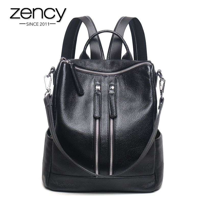3 Way New Zipper Designer Fashion Genuine Leather Women Backpack Ladies Shoulder Bags Girl School Bag Bolsas Mochilas Femininas