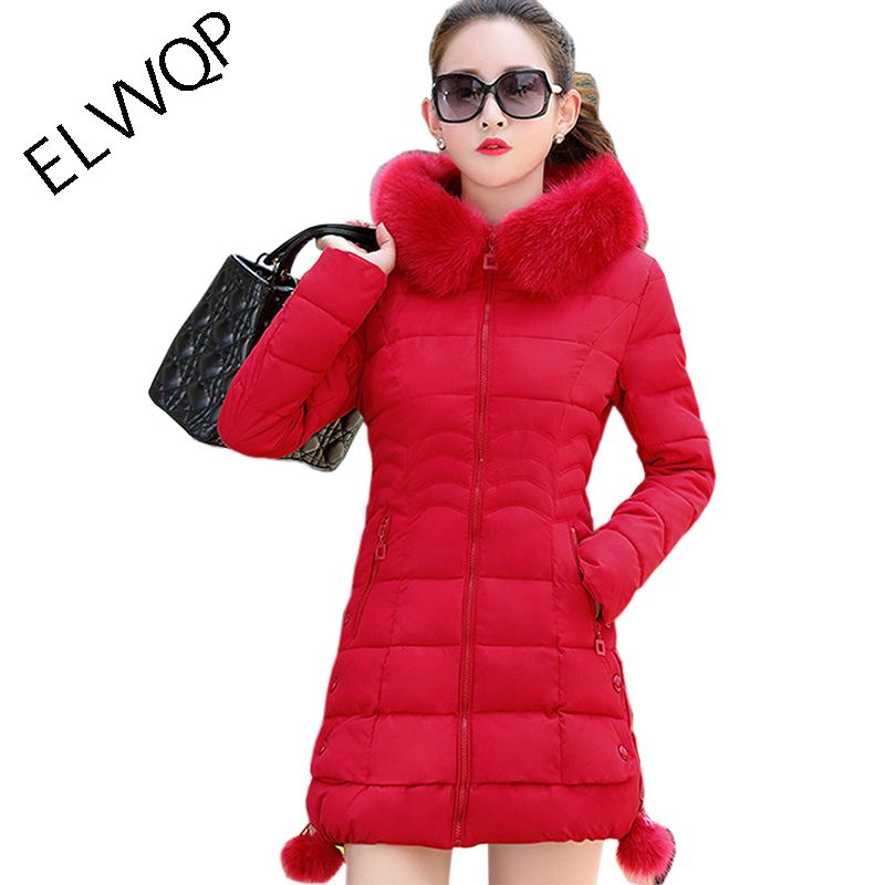 womens winter jackets and coats 2018 Parkas for women 5 Colors Wadded Jackets warm <font><b>Outwear</b></font> Hooded Large Faux Fur Collar LU023
