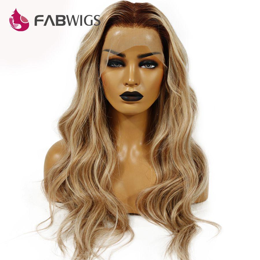 Fabwigs 150% Dichte T4/27/613 Blonde Volle Spitze Menschliches Haar Perücken Brasilianische Remy Ombre Highlights Lemi Farbe spitze Perücken Tiefe Teil