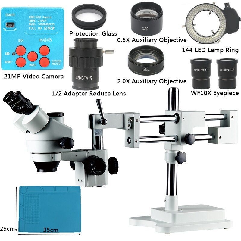 21MP 1080P HDMI Electron Industry Digital Microscope Camera Phone Repair 3.5X-90X Double Boom Stand Stereoscopic Microscope