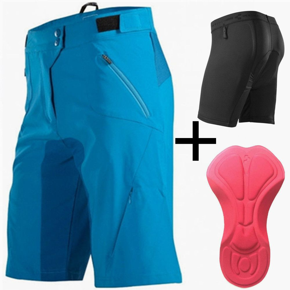 Saenshing Cube Bike Shorts Men Downhill Mtb Shorts+Cycling Underwear 3D Gel Pad Sport Bicycle Cycling Shorts Bermuda Ciclismo