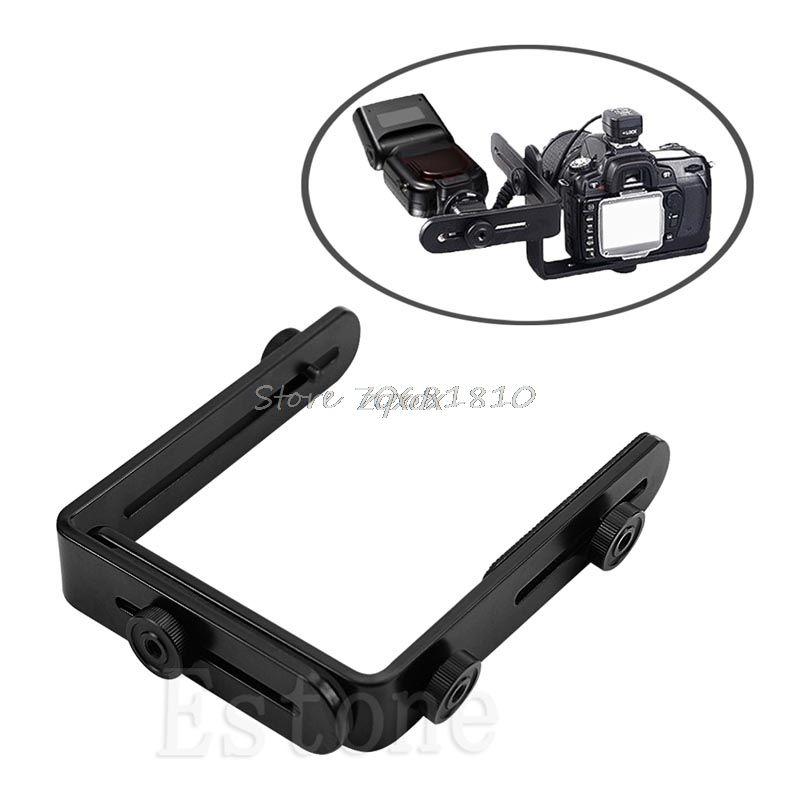 SIV Metall L-förmigen Doppel Dual Halterung/Halter Halterung für Canon Kamera & Speedlite Flash Z17 Drop Schiff
