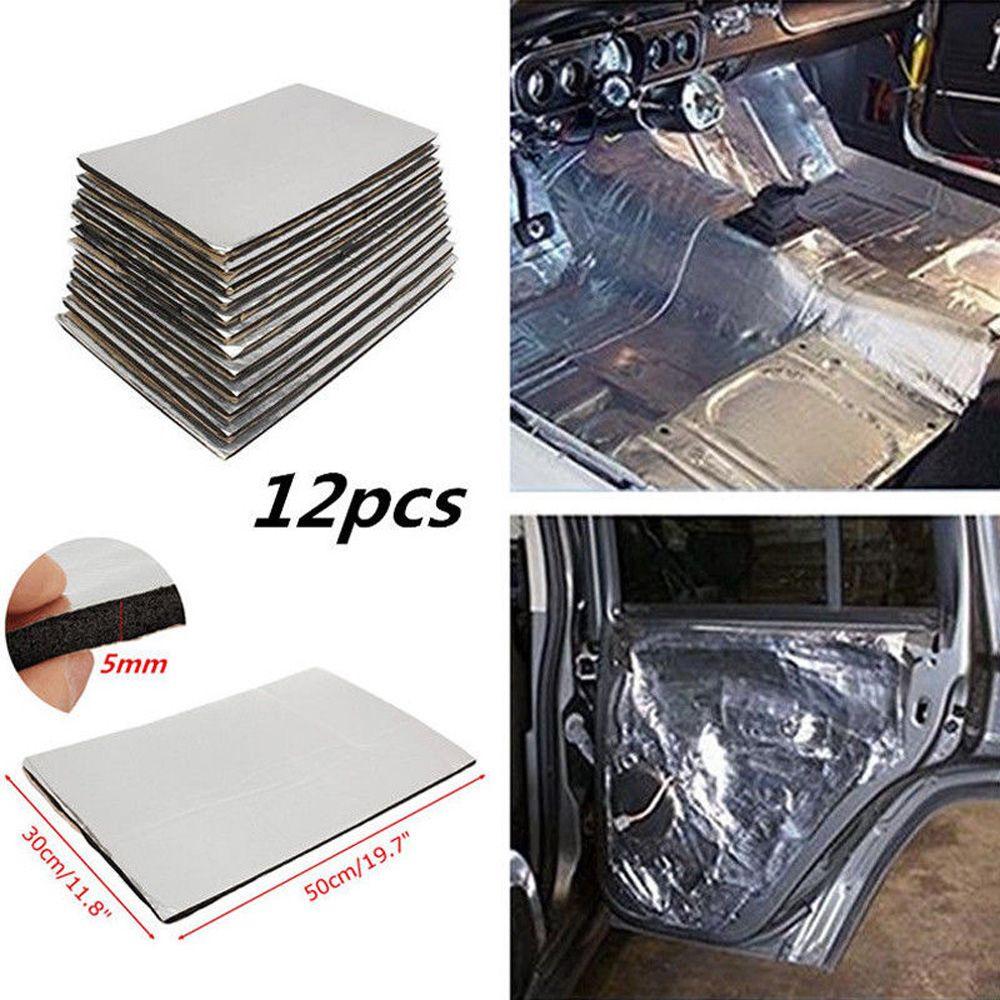 12pcs 5mm Car Firewall Sound Deadener Heat Insulation Deadening Mat Pads Door Hood Fiberglass Rubber Sponge Tri-layer 50*30cm
