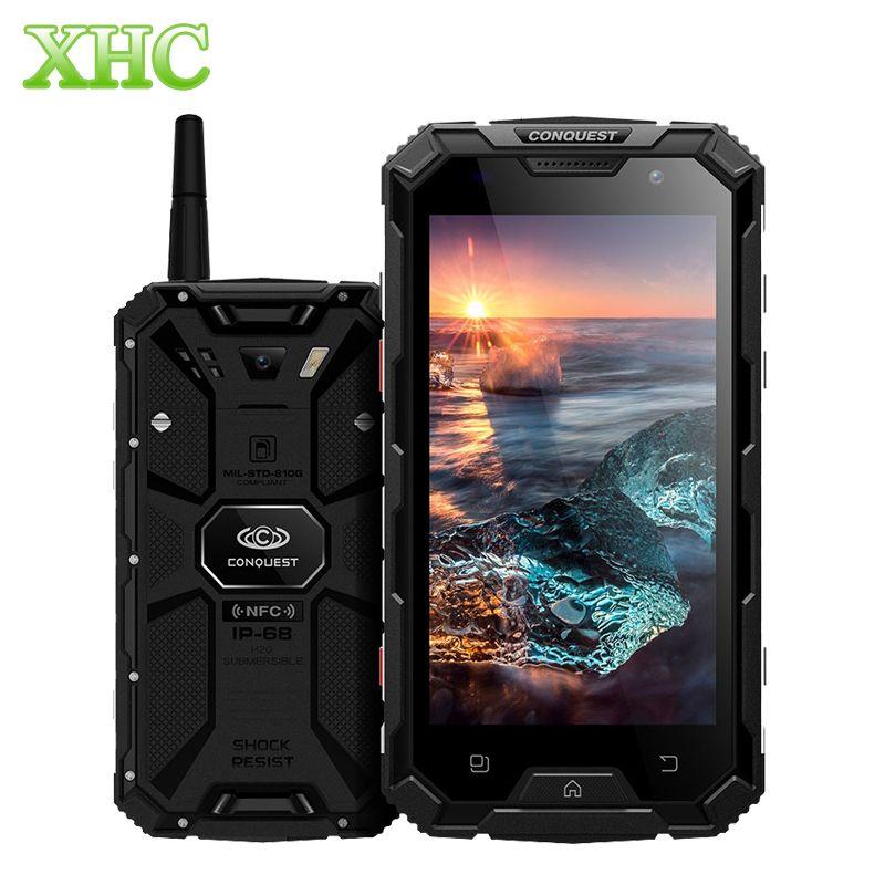 Conquest S8 Plus 4GB+64GB Walkie Talkie Smartphones IP68 Waterproof Fingerprint ID 5.0 inch Android 6.0 Octa Core Mobile Phones