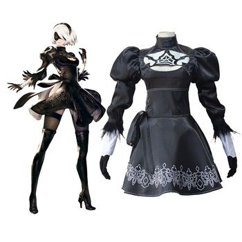 Anime NieR:Automata 2b Uniforms Dress Cosplay Costume halloween costumes for women