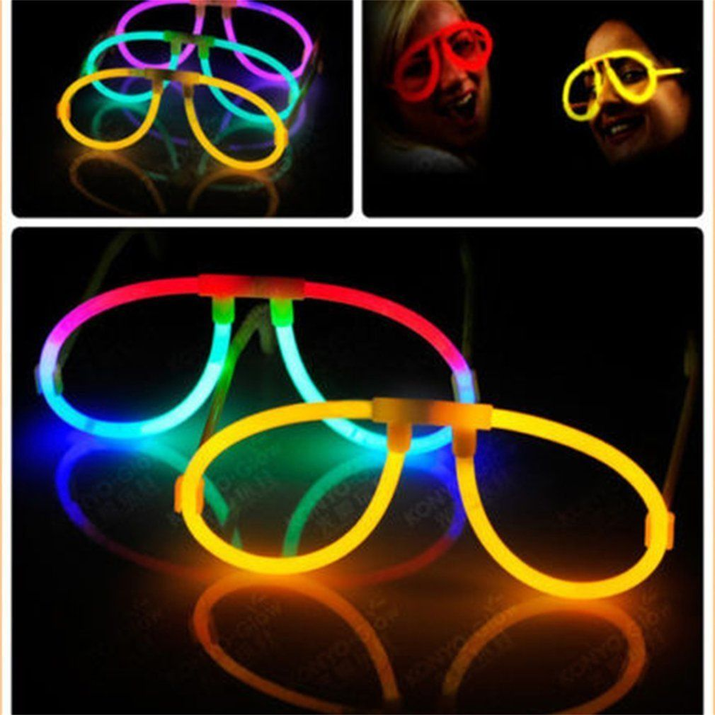 10pcs Luminous Glow Fluorescence Glasses Sticks Skull Glasses Lighting Luminous Sticks Neon Xmas Party Flashing Novelty Toy