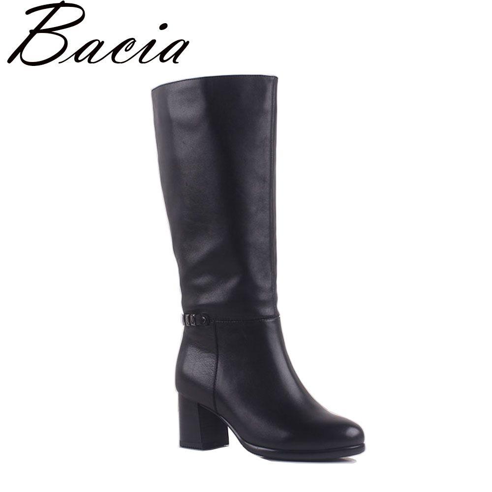 Bacia 2017 Klassische Stil Aus Echtem Leder Frauen Stiefel Platz High Heel Botas Warme Plüsch Natürlichen Leder Schuhe Größe 35- 41 MA007