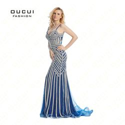Dubai Luxus Tüll Kristall Royal Blue Mermaid Abendkleid 2019 Party Anlässe Formal Lange Prom Kleider Plus Größe OL102829