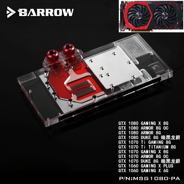 BARROW Volle Abdeckung Grafikkarte Block verwenden für MSI RÜSTUNG/GTX1080/1070/1060 GAMING X DUKE GPU kühler Block RGB zu AURA 4PIN