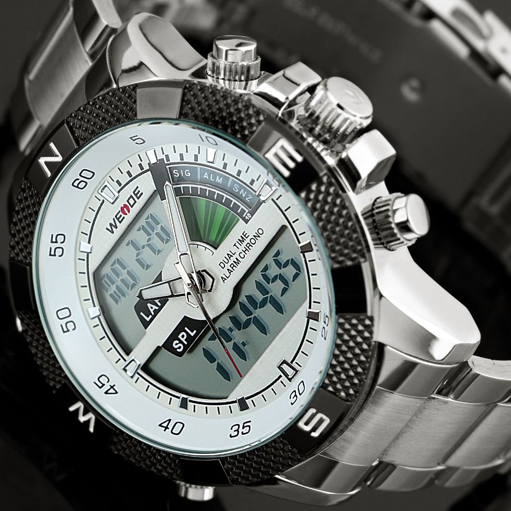 2017 Top Luxury Brand WEIDE Men Fashion Sports Watches Men's Quartz <font><b>LED</b></font> Clock Man Army Military Wrist Watch Relogio Masculino
