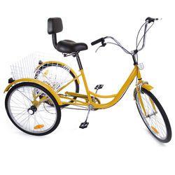 2019 Акция Россия доставка 24 дюймов взрослый трицикл трике 3 колеса велосипед 6 скорость сдвиг + корзина для покупок