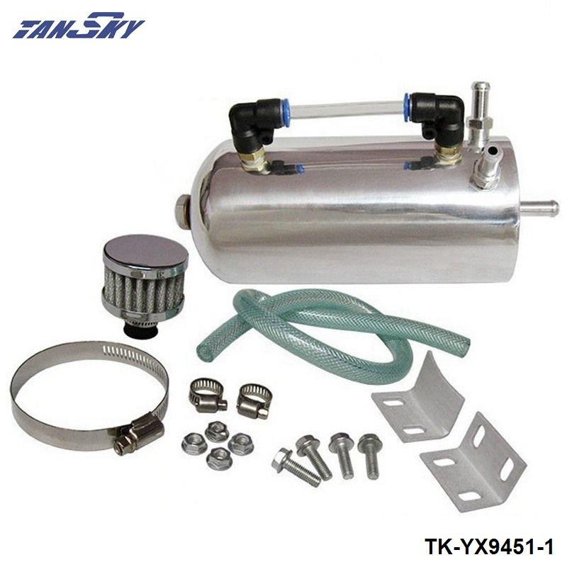 TANSKY - Alloy Polished Chrome Universal Oil Catch Can Breather Tank Kit With Breather Air Filter TK-YX9451-1