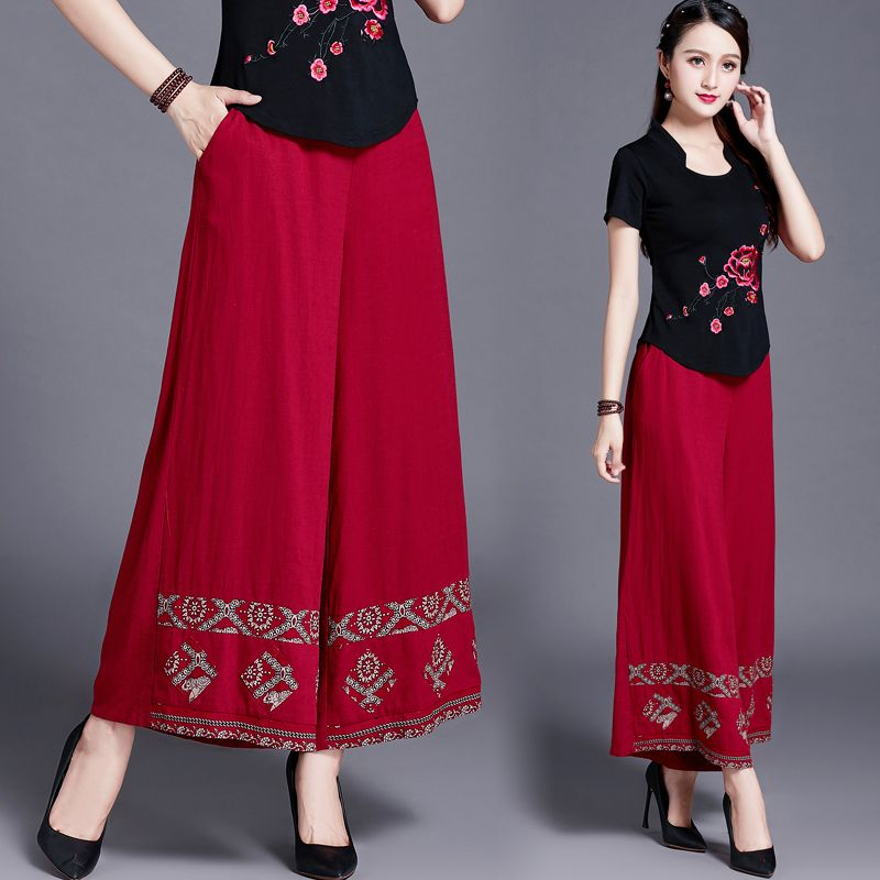 Original Chinese Style Women's Wear, Summer And Autumn, New Style Of Art And Crafts, Cotton, Hemp, Leisure, Wide Leg Trousers, B
