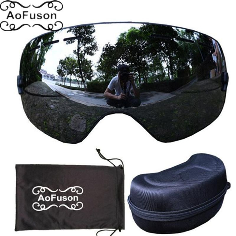 Brand ski goggles with box case double layers anti-fog lens big vision mask glasses motocross women men snow snowboard goggles