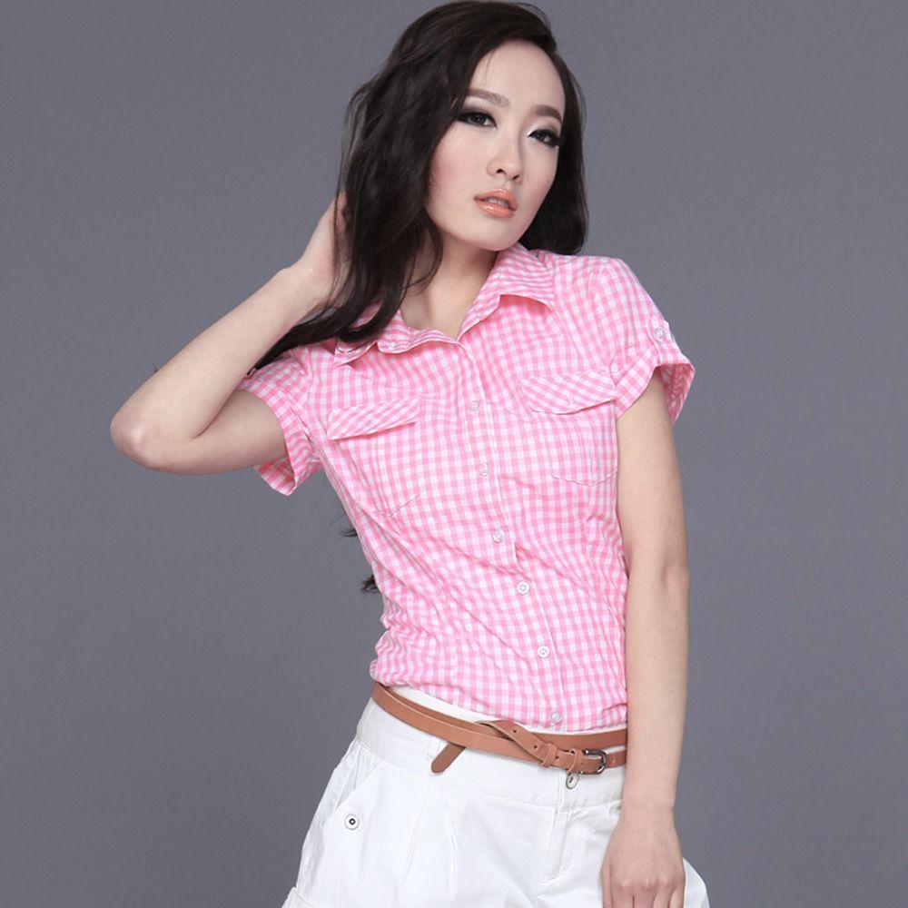 Veri Gude Style D'été À Manches Courtes Chemises À Carreaux Femmes Coton Blouses Slim Fit 6 Couleurs