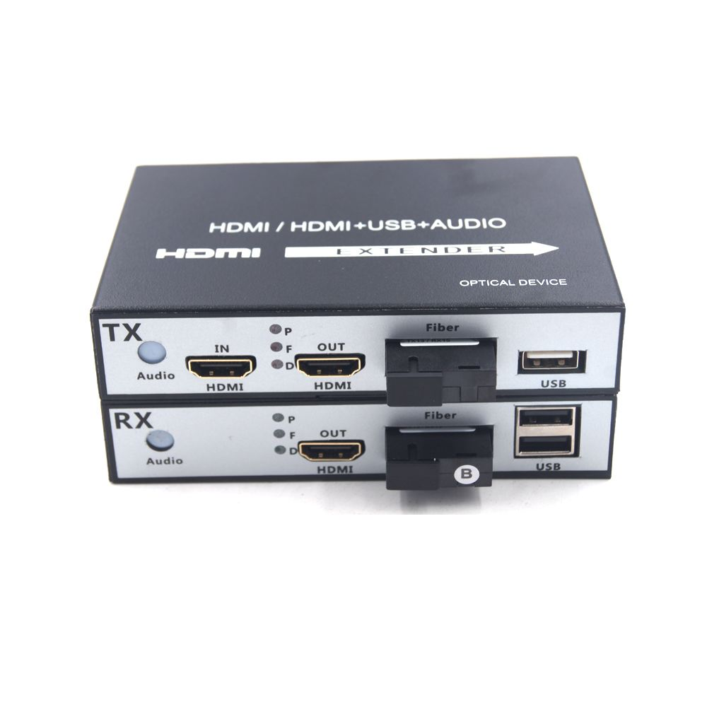 Hohe Qualität HDMI Extender, HDMI über Fiber optic media konverter mit KVM USB2.0 und loop out, HD 1080 p HDMI über Faser bis 20 km