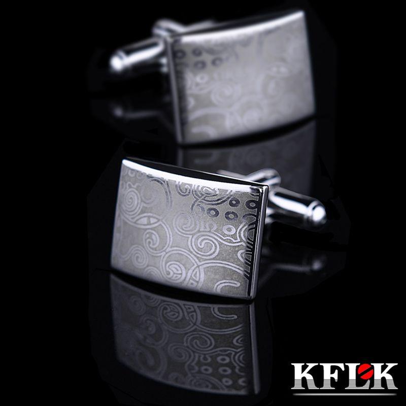 KFLK Joyería Láser patrón camisa de la mancuerna de Plata para hombre Moda Marca Botón gemelo Al Por Mayor de Alta Calidad Libre Del Envío