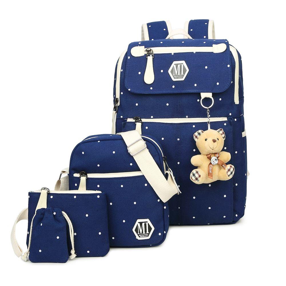 2017 Girls Canvas Backpack 4 Pcs/set Women School Backpacks Schoolbag For Teenagers Student Book Bag High Quality Boys Satchel