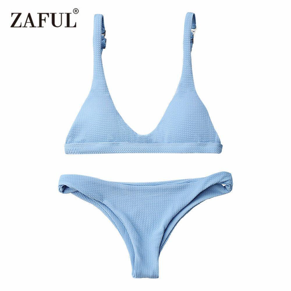Zaful Bikinis 2017 Push Up Padded Scoop <font><b>Neck</b></font> Woman Swimwear Solid Color Beachwear Brazilian Bikini Set Maillot De Bain Femme