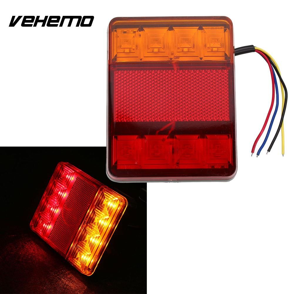 Vehemo 2pcs Waterproof 8 LED Red Yellow Rear Tail Warning Light 12V for Trailer Boat Car Vehicle Light Car Styling