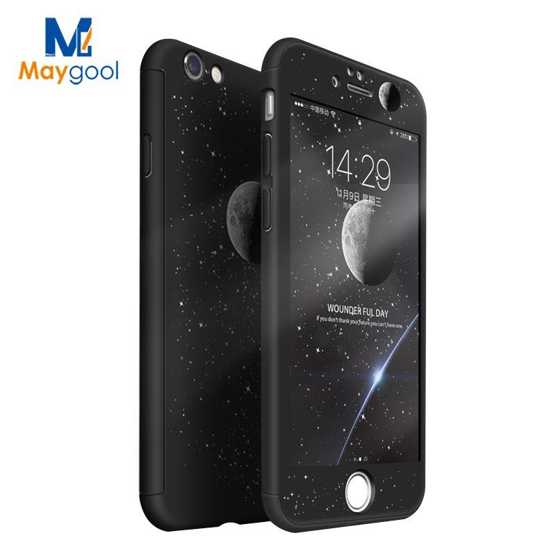 Maygool 360 Grados Casos Para el iphone 6 6 s 7 más PC Cubiertas de Protección de Plástico Duro completo Para 7 7 plus Pantalla de Dibujos Animados Gratis Protetcor
