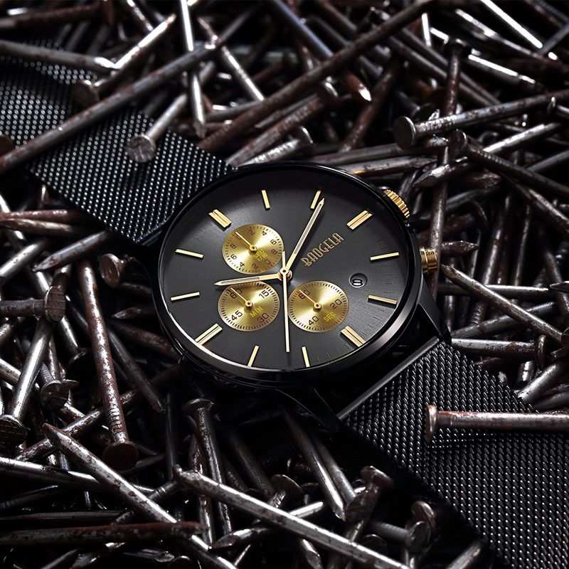 BAOGELA Chronograph New Men Quartz Watch Stainless Steel Mesh Band Gold Watches Slim Men Watches Male Relogio Sports Wristwatch