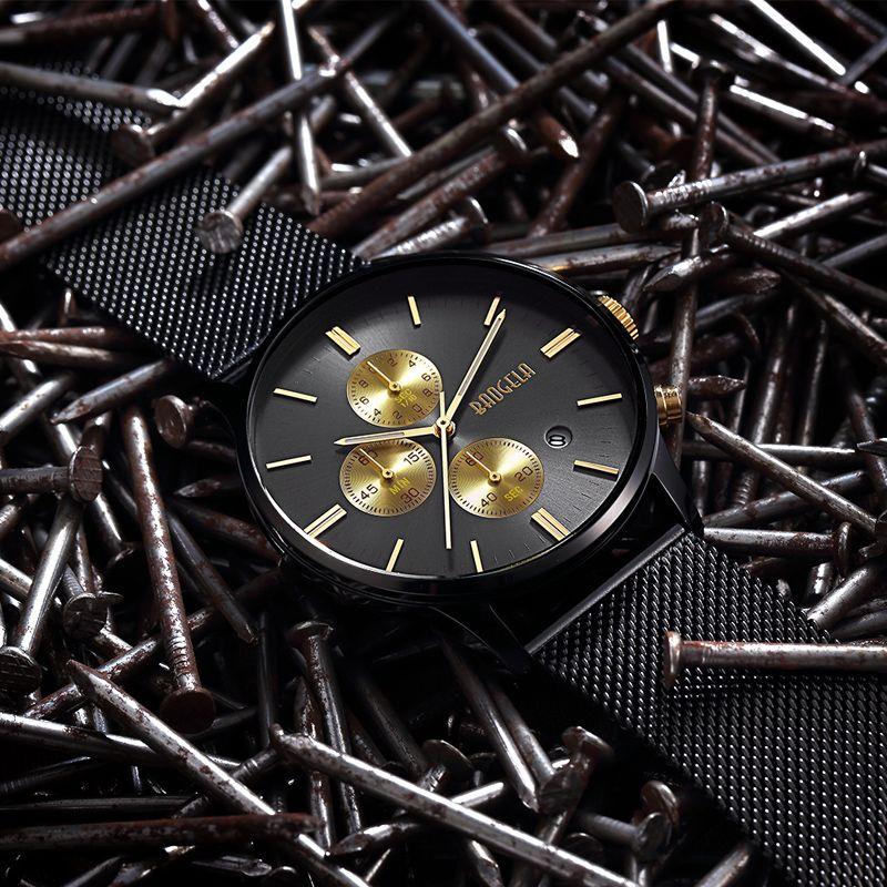 Baogela cronógrafo nuevos hombres del cuarzo del acero inoxidable banda de oro relojes hombres delgados relojes hombre Relogio deportes reloj