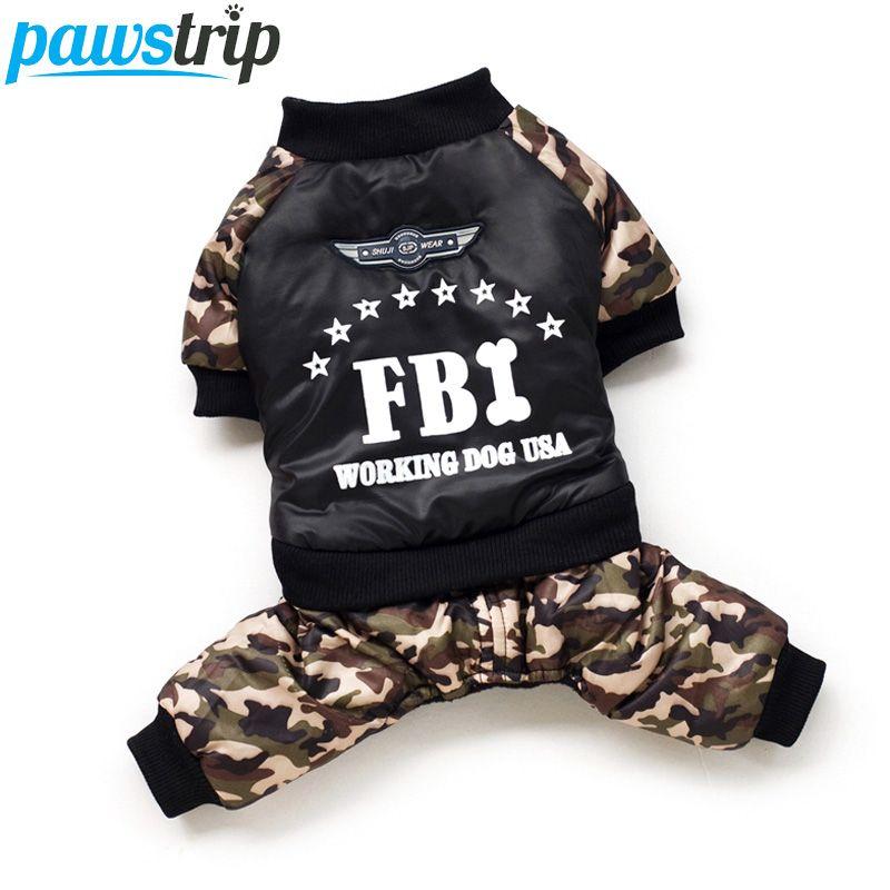 Vêtements de chien de compagnie du FBI Cool vêtements de combinaison de chiot de chien épaississement global vêtements d'hiver chauds pour chiens de garçon Ropa Para Perros
