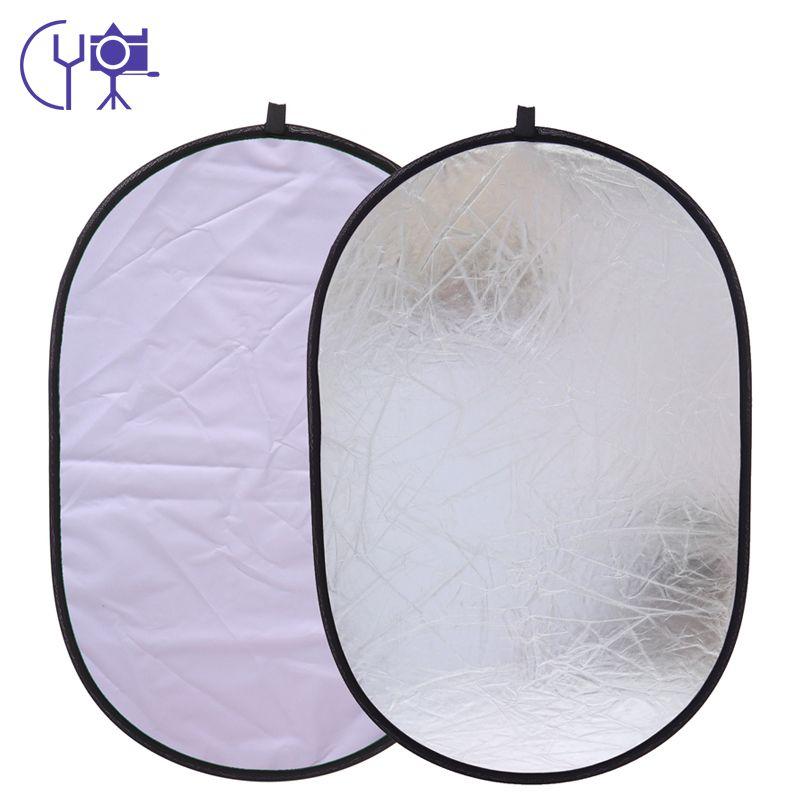 CY 90x120 cm multi-prise Photo studio 2 en 1 argent et blanc pliable photographie tir ovale réflecteur sacs portables