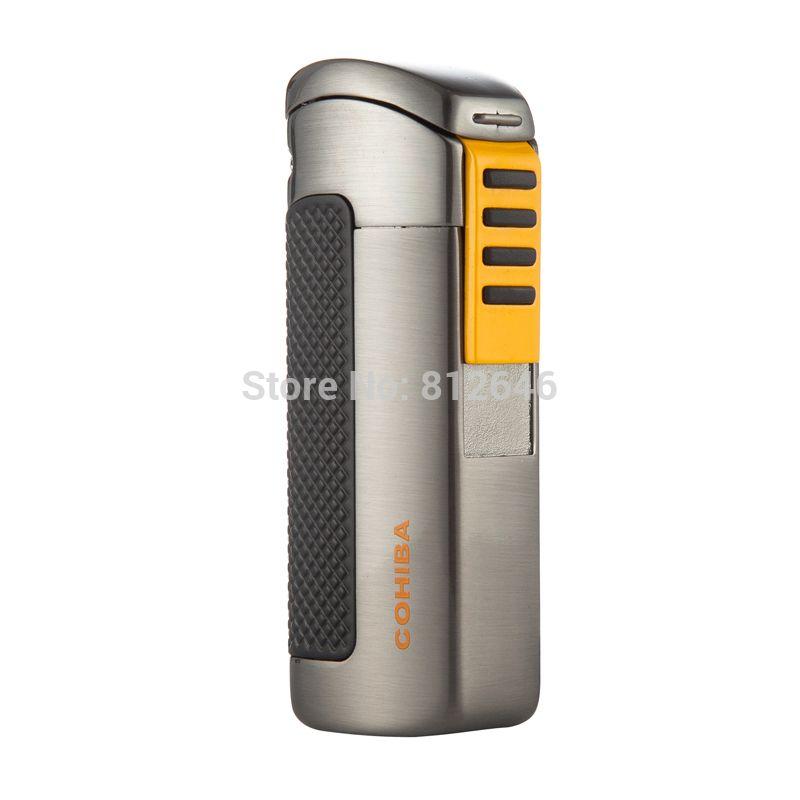 Cohiba Encendedor A Prueba de Viento 3 Antorcha Jet Llama Gas Butano Encendedores de Cigarros COHIBA Puro Encendedor de cigarrillos Portable Gadgets