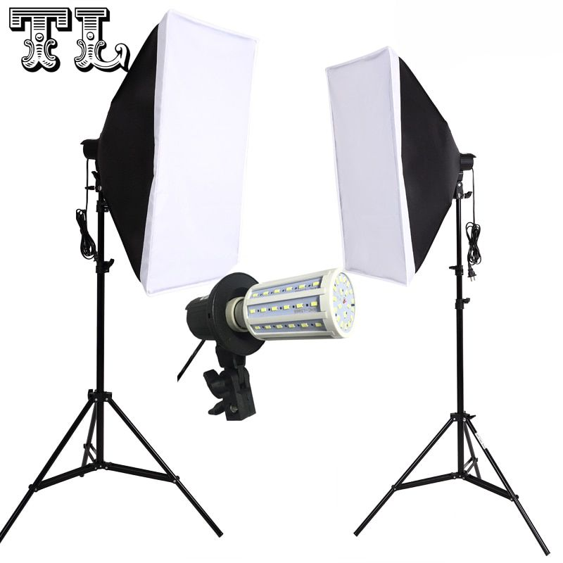 2PCS 24W LED E27 Bulbs Photo video lighting softbox kit Light diffuse Kit 2pcs softbox 2pcs light stand 2pcs light holder