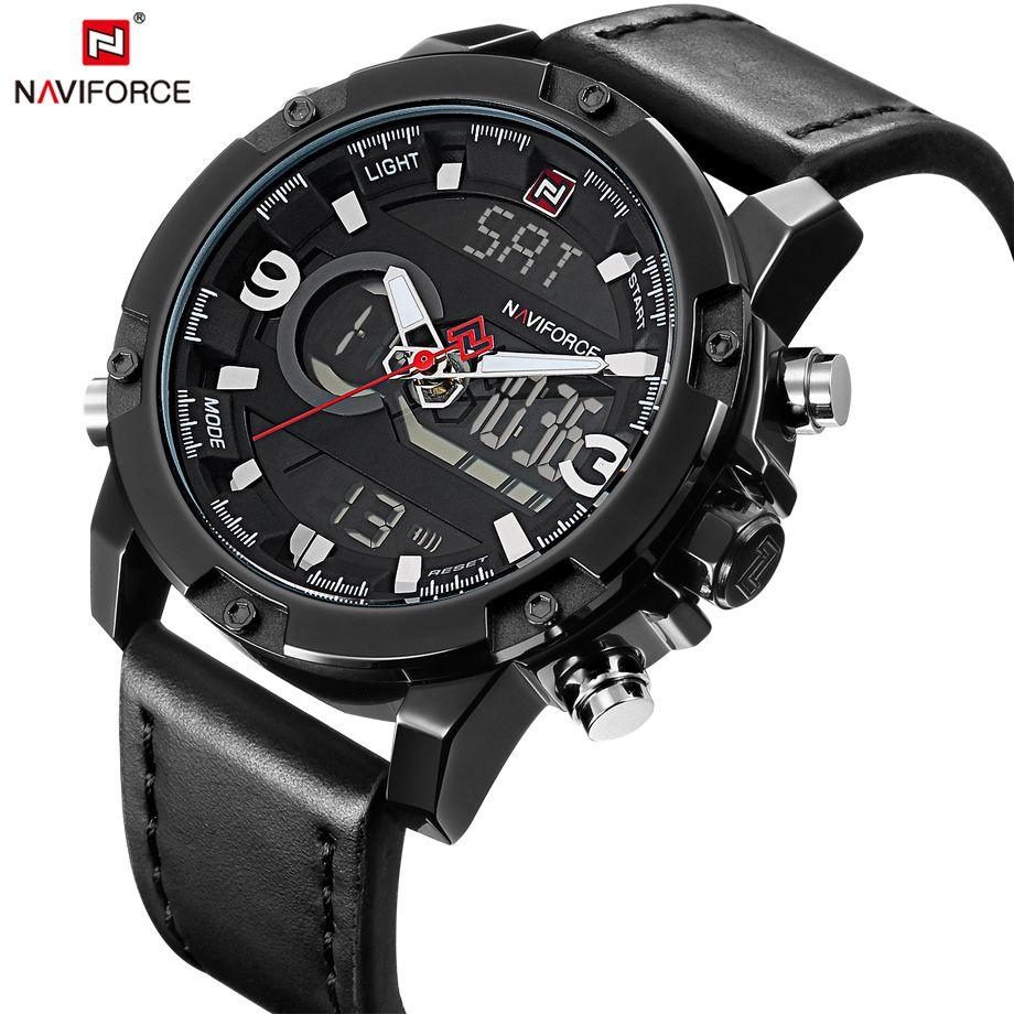 NAVIFORCE Mens Watches Fashion Casual Sport Black Leather Watch Male Clock Man Army Military Quartz Wristwatch Relogio Masculino