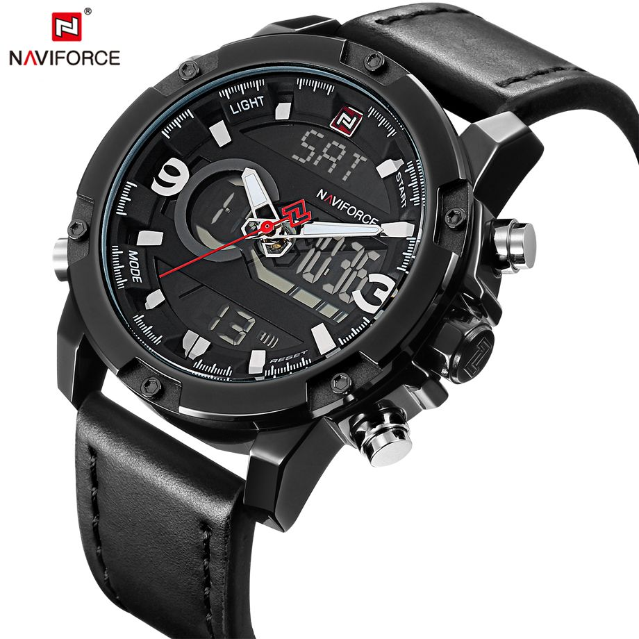 NAVIFORCE Mens Watches Fashion Casual Sport Black Leather Watch Male Clock Man Army Military Quartz Wristwatch Relogio Masculino
