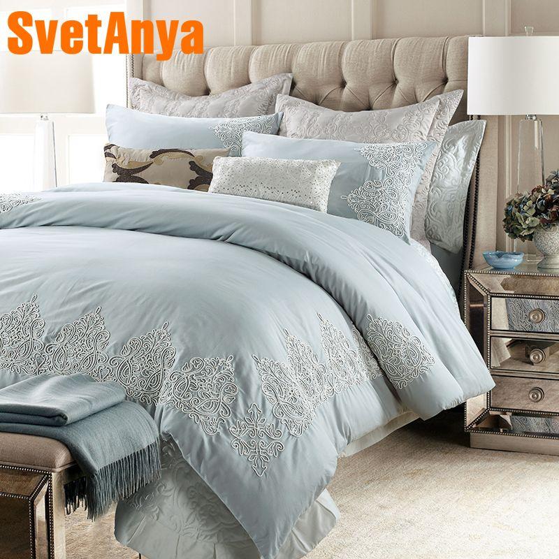 Svetanya Stickerei Bettwäsche Kit Geschliffen Baumwolle Bettwäsche Königin King Size Luxus bettlaken Kissenbezüge Bettbezug Sets