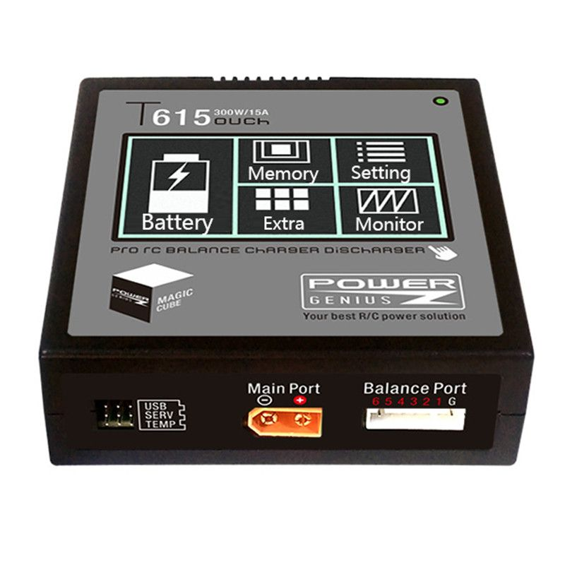 PG T615 300W 15A Lipo Battery Balance Charger Discharger Touch Screen Support 4.35 LiHV Battery