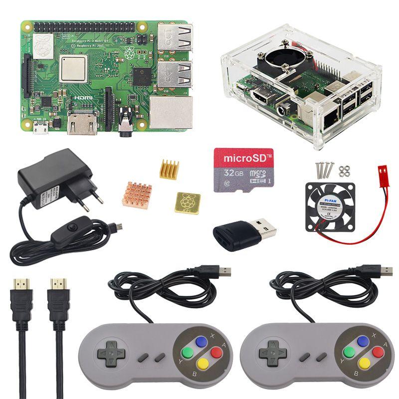 Raspberry Pi 3 Model B+ Starter Kit + Gamepad + Case + 32G SD Card +2.5A Power Adapter +Fan +Heat Sink + HDMI Cable for Retropie