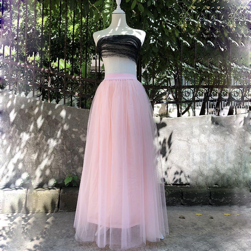 2018 Spring Fashion Womens Lace Princess <font><b>Fairy</b></font> Style 4 layers Voile Tulle Skirt Bouffant Puffy Fashion Skirt Long Tutu Skirts