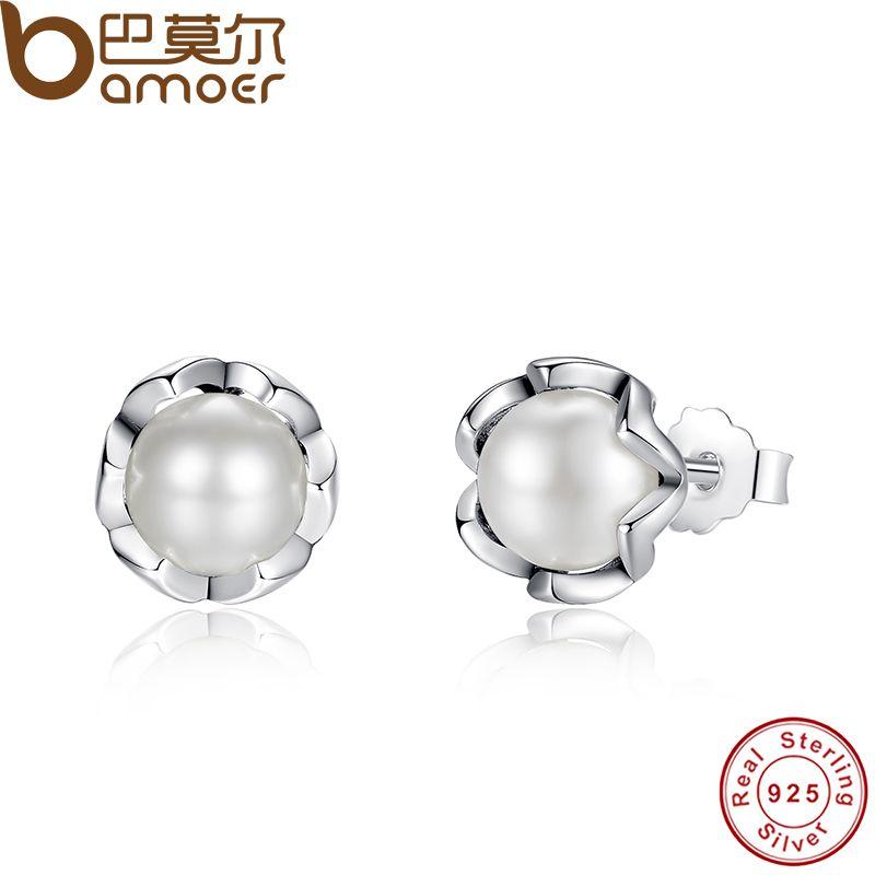 BAMOER 925 Sterling Silver Culture Elegance Boucles D'oreilles Avec Blanc D'eau Douce de Culture Perle Sterling Argent Bijoux PAS420