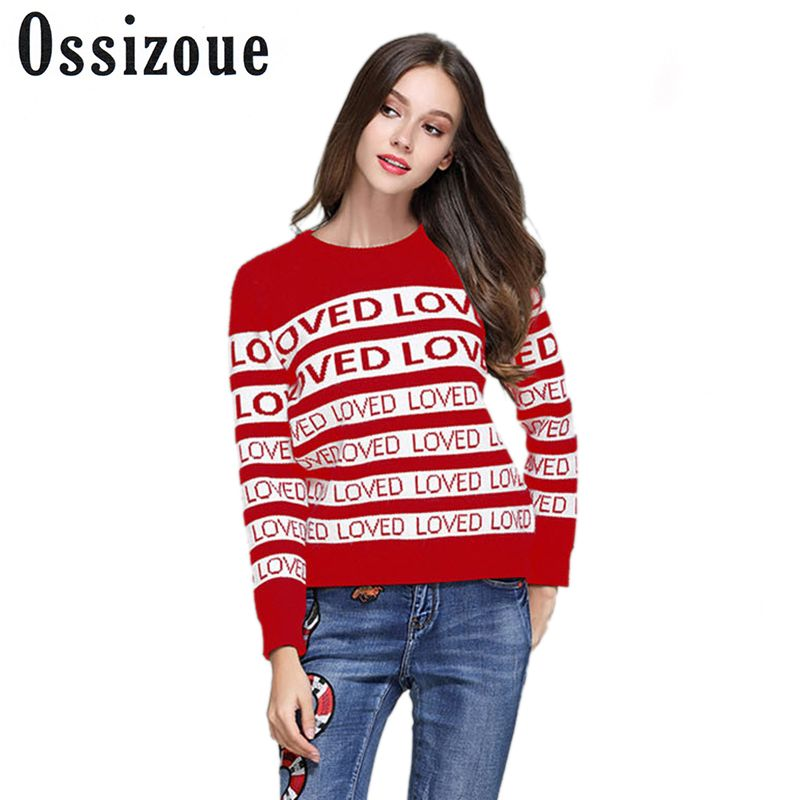 Christmas Cashmere Runway Sweater Women 2018 Autumn Winter Fashio Loved Letter Sweaters Female Pullovers Jumper Knitwear Clothes