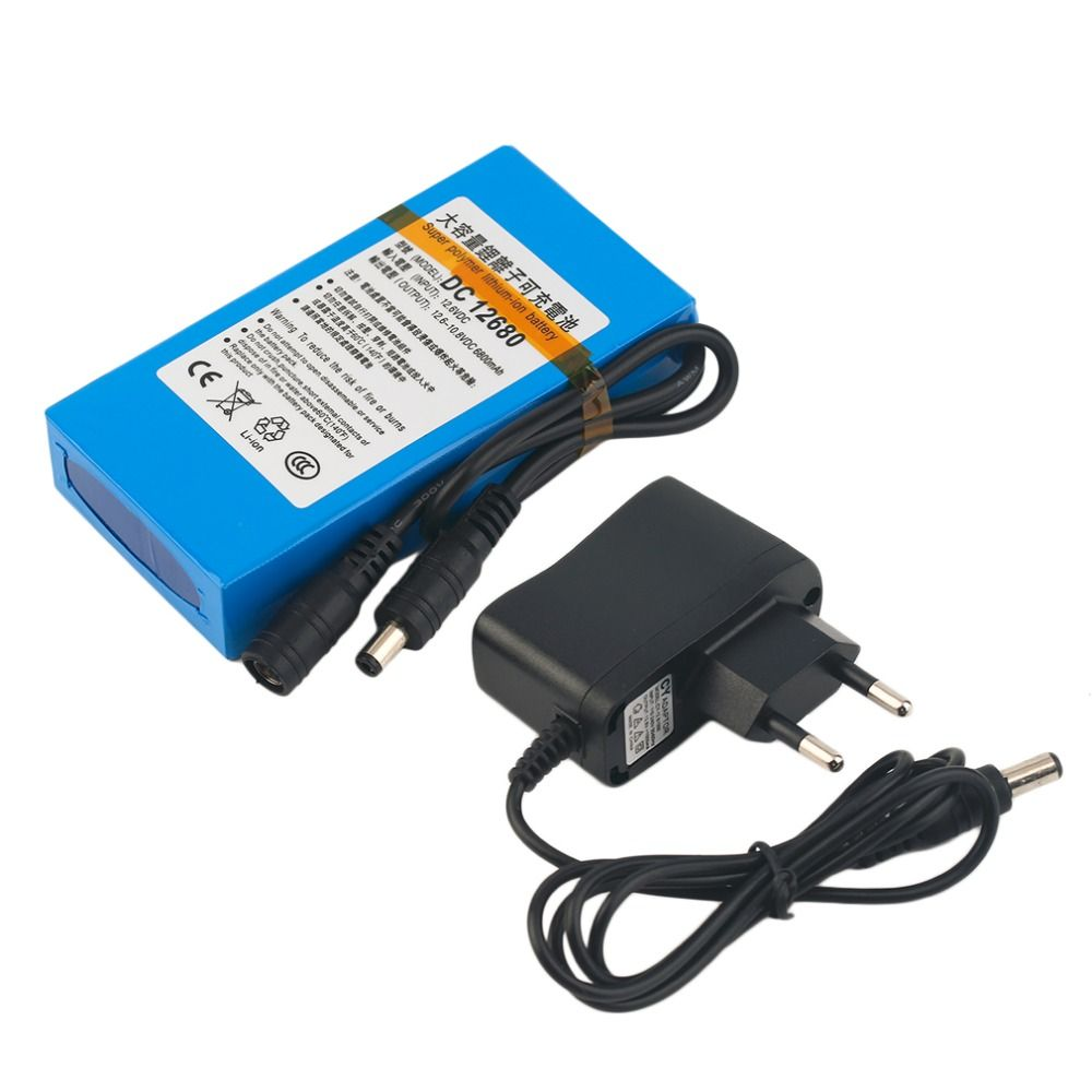 DC 12V Battery 6800MAH Super Capacity Rechargeable Li-ion Battery With EU/US Plug 6800MAH Replacement Power For CCTV Camera