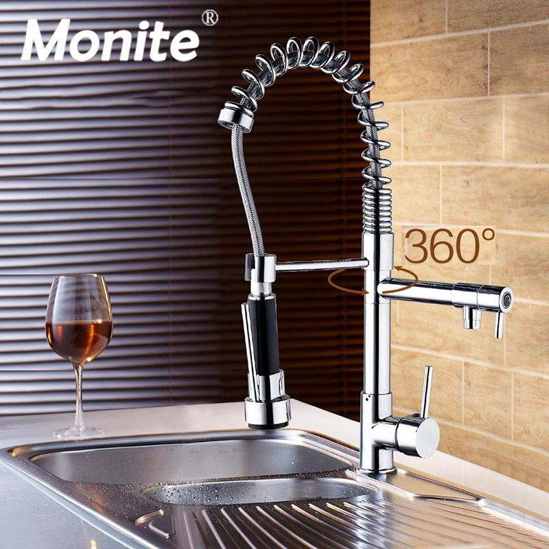 Pull Out Kitchen Tap And <font><b>Chrome</b></font> Finished Spring Kitchen Faucet Swivel Spout Vessel Sink Mixer Basign Faucet