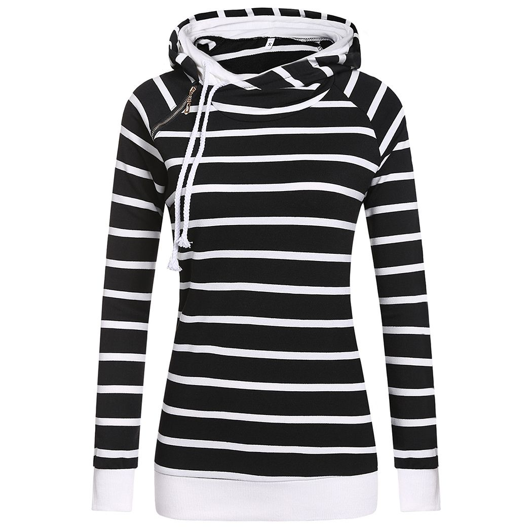New Fashion Women Casual Double Hooded Striped Long Sleeve Pullover Hoodie