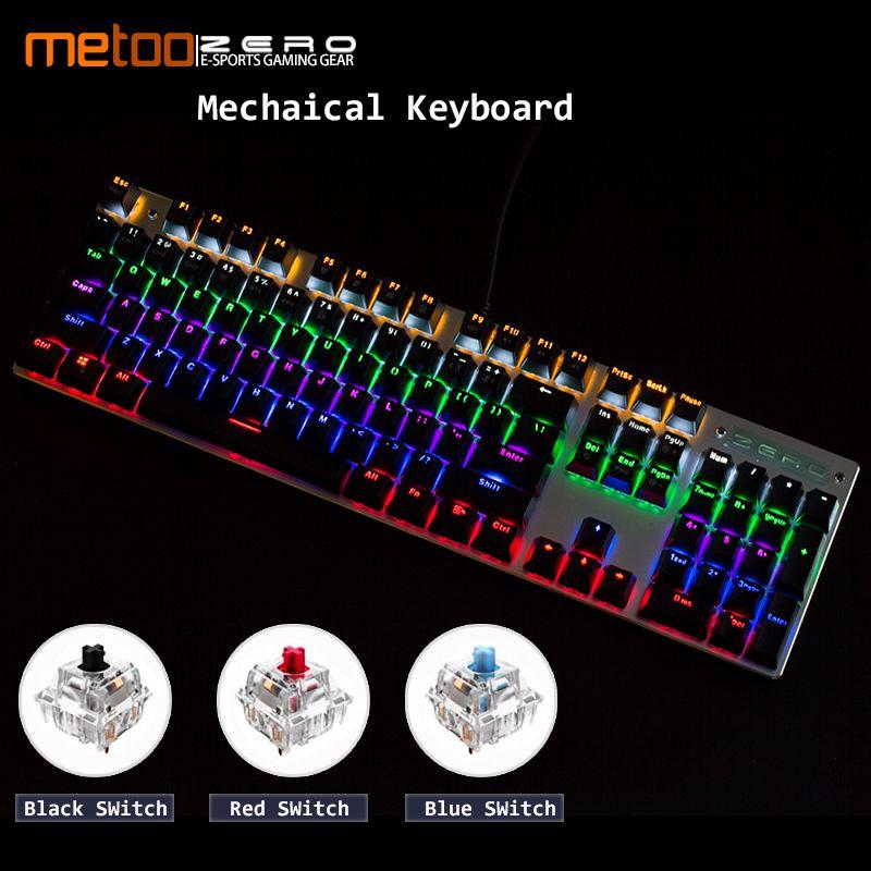 Clavier mécanique de jeu Metoo LED rétro-éclairé 87/104 touches commutateur bleu/rouge Anti-fantôme clavier filaire russe/anglais pour les joueurs