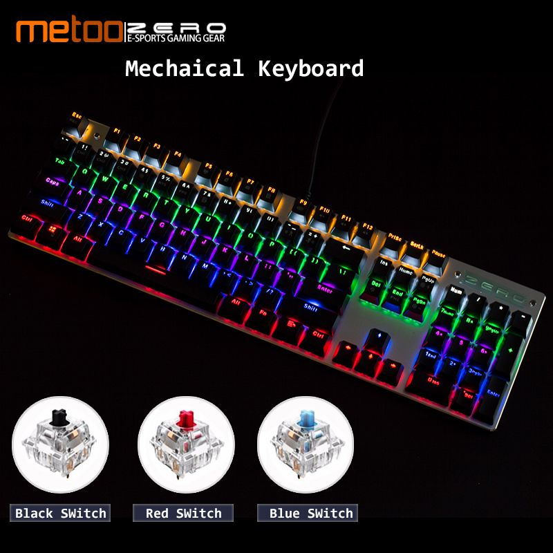 Metoo Gaming Mechanical Keyboard LED Backlit 87/104 keys Blue/Red Switch Anti-ghosting wired Keyboard Russian/English for gamers