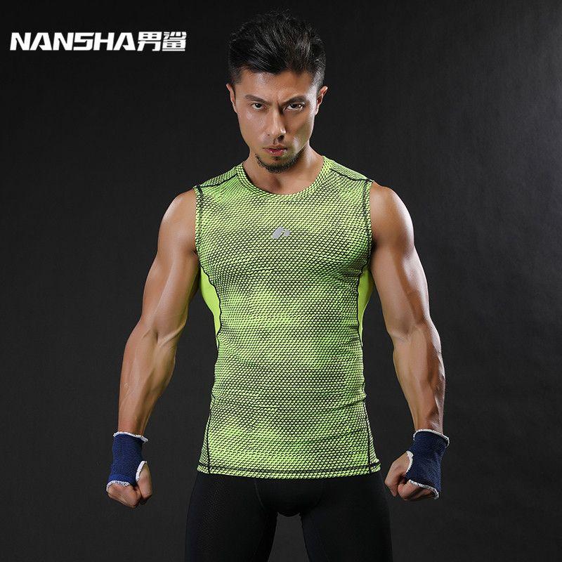 NANSHA marque respirant à séchage rapide hommes sport gilet vêtements Compression réservoir hauts entraînement serré vêtements de sport