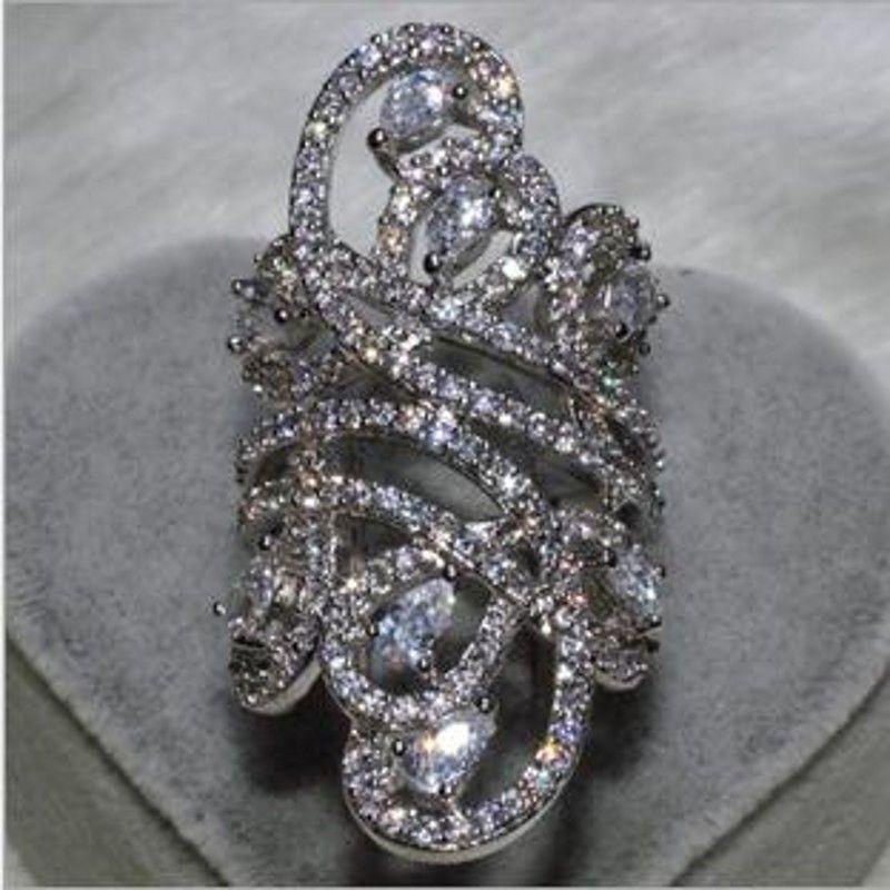 Choucong Wieck Frauen Mode Schmuck 925 Sterling Silber Simulierte steine CZ Hochzeit Engagement Blume Finger Band Ring SZ5-11